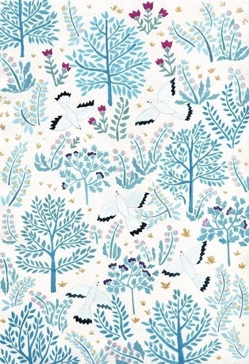 white birds garden - illustration - daottlinh | ello