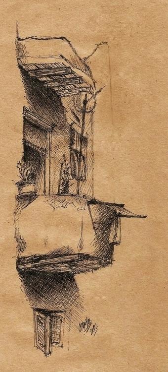 Balcony sketch - ink, penink, inktober - omnyahussein | ello