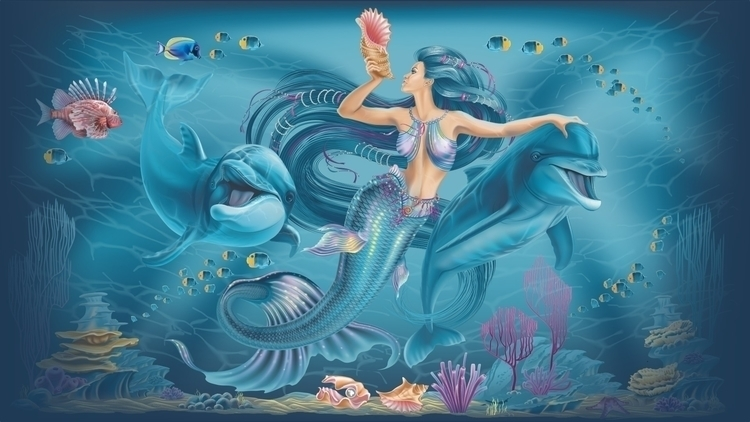 Mermaid dolphins - vector, illustration - tatyana_pro | ello