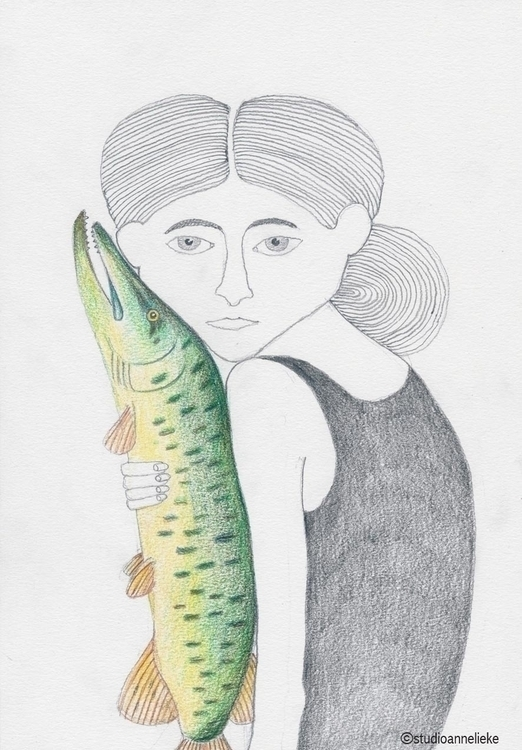Girl fish - illustration, drawing - anneliekehooymans | ello