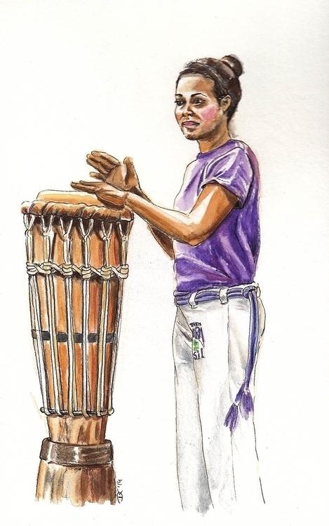 capoeirista playing atabaque - painting - dannyknebel | ello