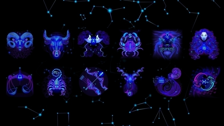 Neon zodiac signs - vector, sign - tatyana_pro | ello