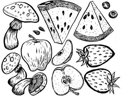 penink, watermelon, mushrooms - kaytiespellz | ello
