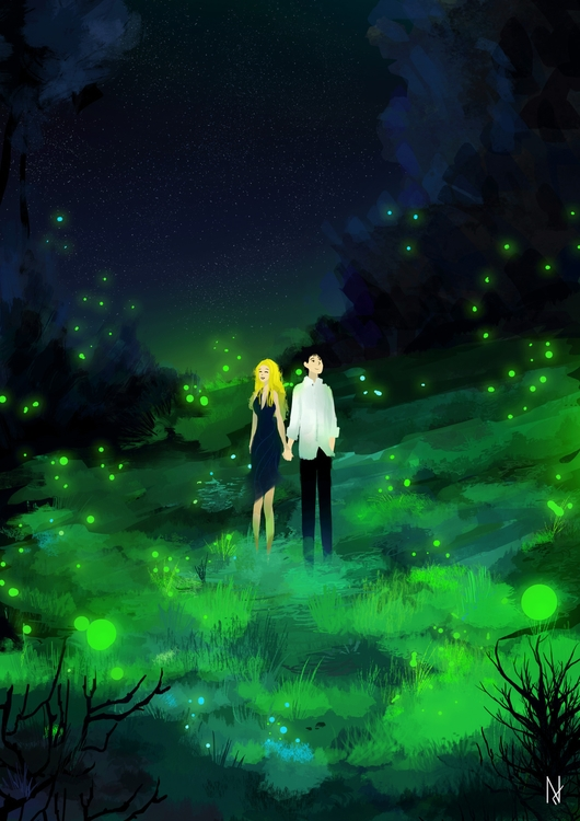 Fireflies - illustration, love, lovers - sebastian-4019 | ello