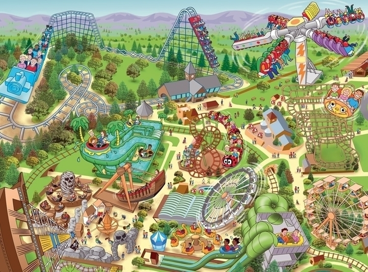 illustration, maps, themepark - ianrward | ello