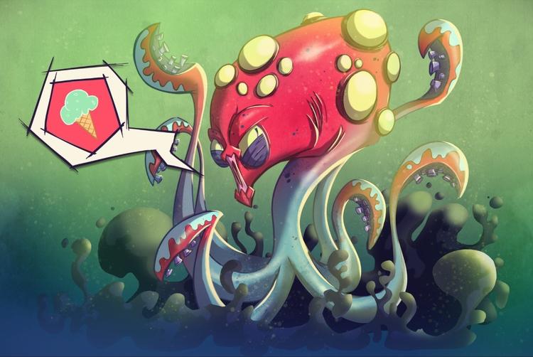 octopus - illustration, creaturedesign - michelverdu | ello