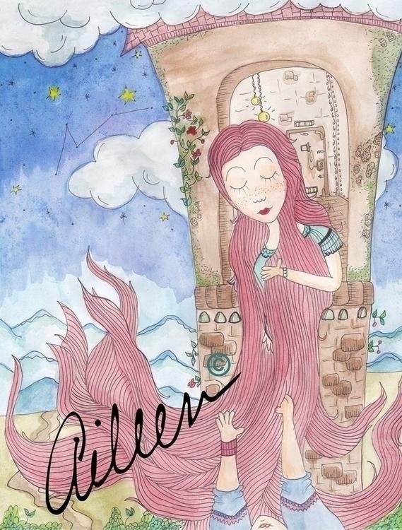 Rapunzel - watercolor, illustration - aileencopyright   ello