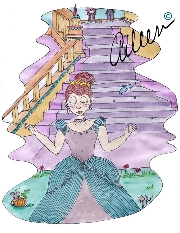 Cenicienta - watercolor, illustration - aileencopyright   ello