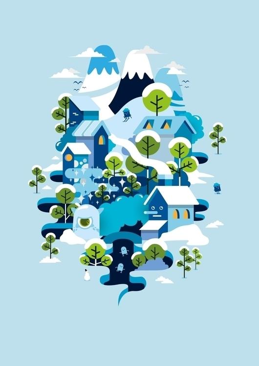 snow - illustration, vector, flatdesign - ozyero | ello