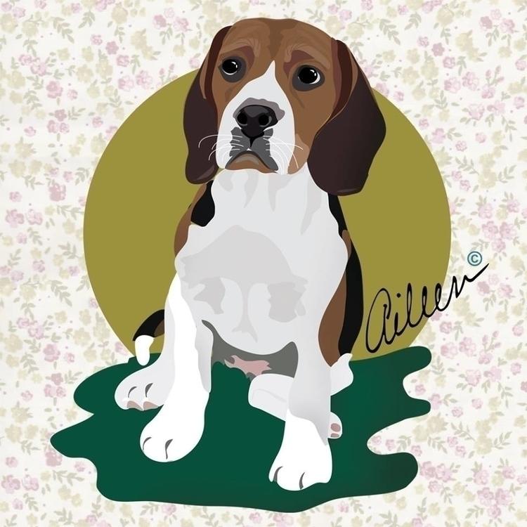 Puppy - portrait, illustration - aileencopyright | ello