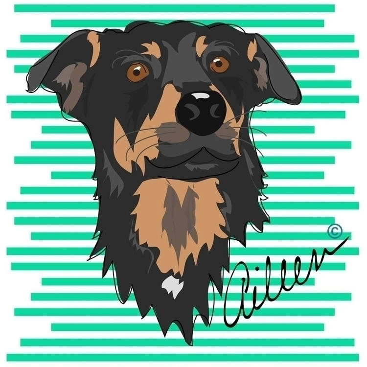 Blacky - portrait, illustration - aileencopyright | ello