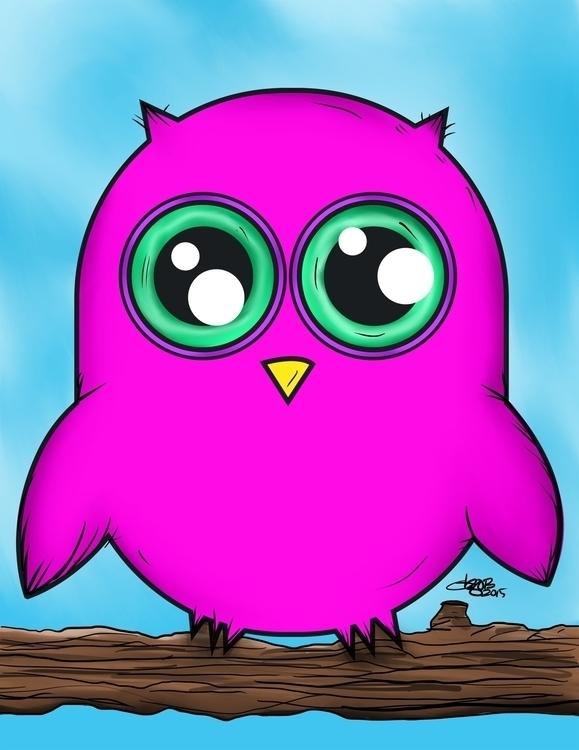 Olivia Owl big eyed, colorful,  - dzobel   ello
