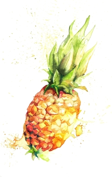 Crazy pineapple - illustration, painting - hanna-1284 | ello