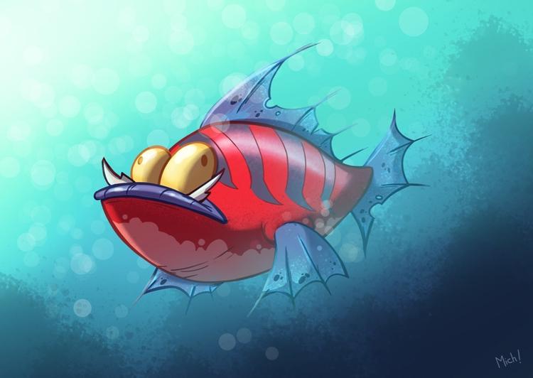primal fish - illustration, painting - michelverdu | ello