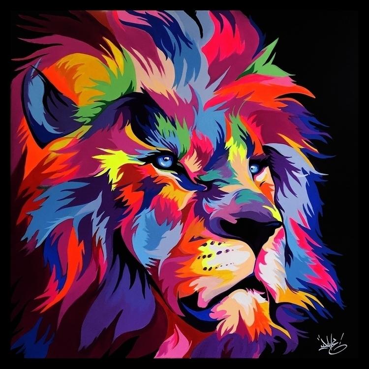 Cecil lion acrylique sur toile  - davebaranes | ello