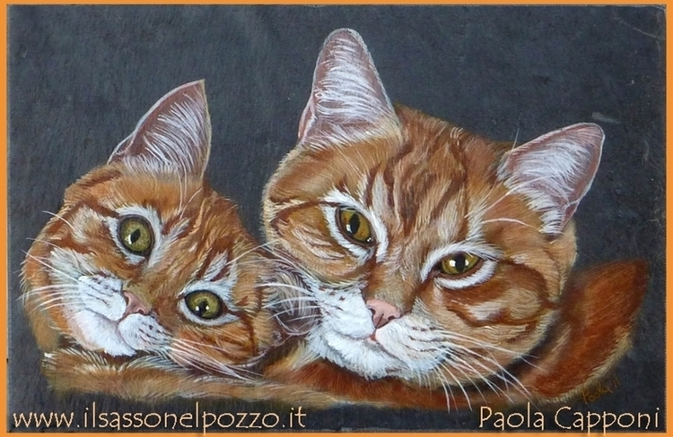 Cats portrait - painting, cats, catsportrait - ilsassonelpozzo | ello