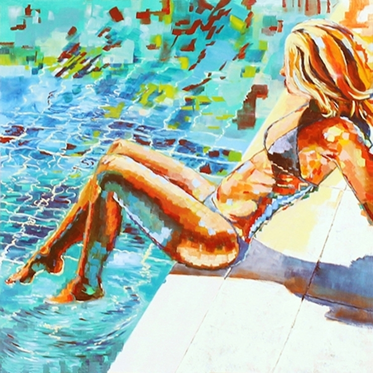 Testing Water - painting, water - mab-3070   ello