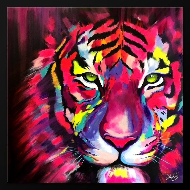 Tiger acrylique sur toile 1M/1M - davebaranes | ello