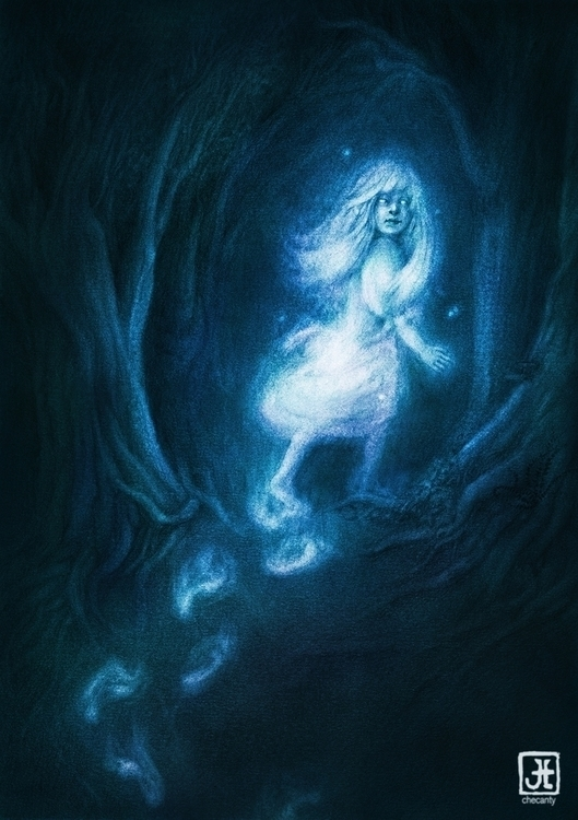 girl, ghost, forest, blue, creepy - checanty   ello