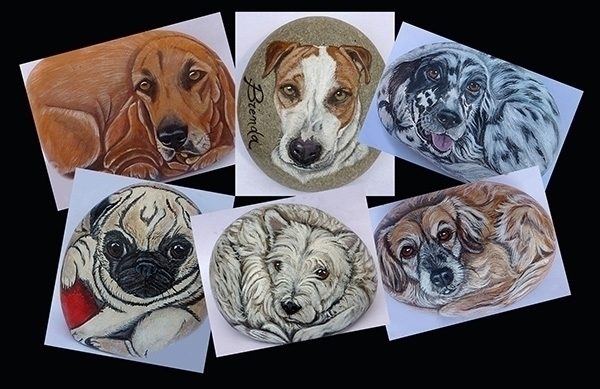 Dogs stones - painting, rockpainting - ilsassonelpozzo | ello