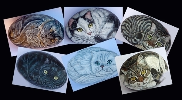 Cats stones - painting, rockpainting - ilsassonelpozzo | ello