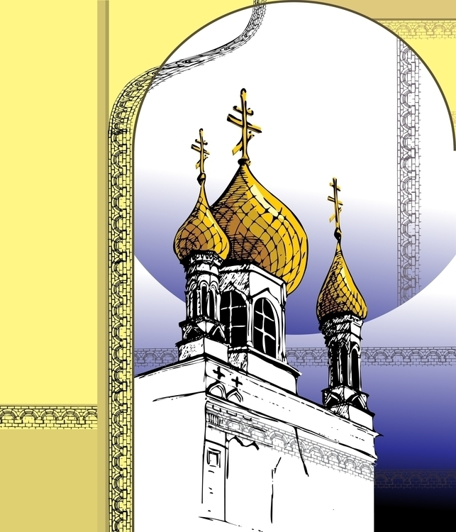 Russian Church - illustration, vector - hanna-1284   ello