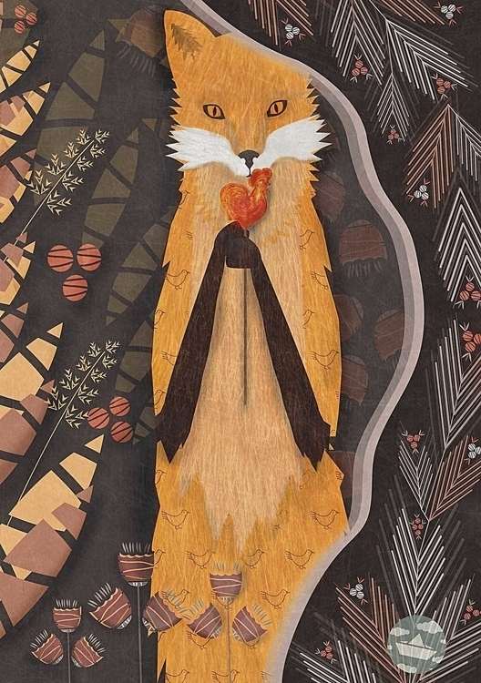 illustration, painting, fox, animal - lidiatomashevskaya | ello