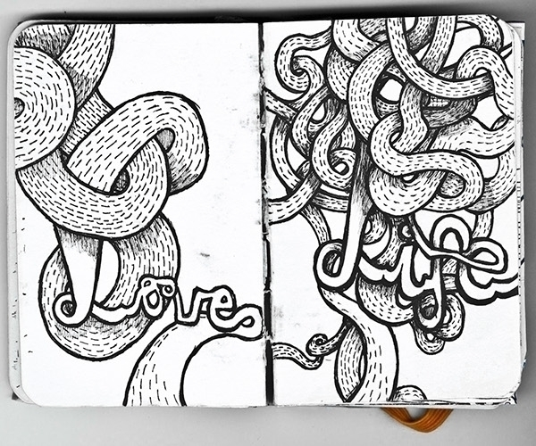 love, life, typography, handdrawn - gingerrred | ello