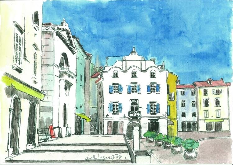 Piran - Tartini square caffes - painting - markojezernik | ello