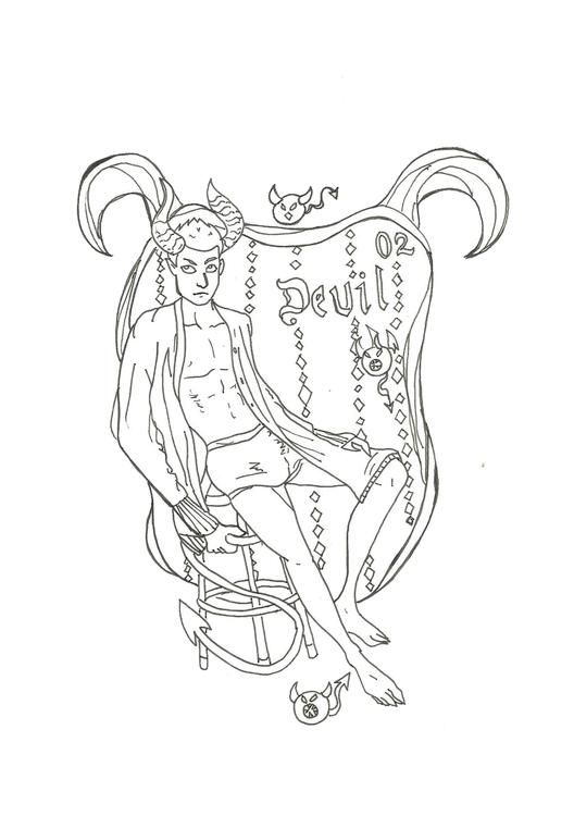 Lineart 02 Devil - ilustration, characterdesign - hotshots2000   ello