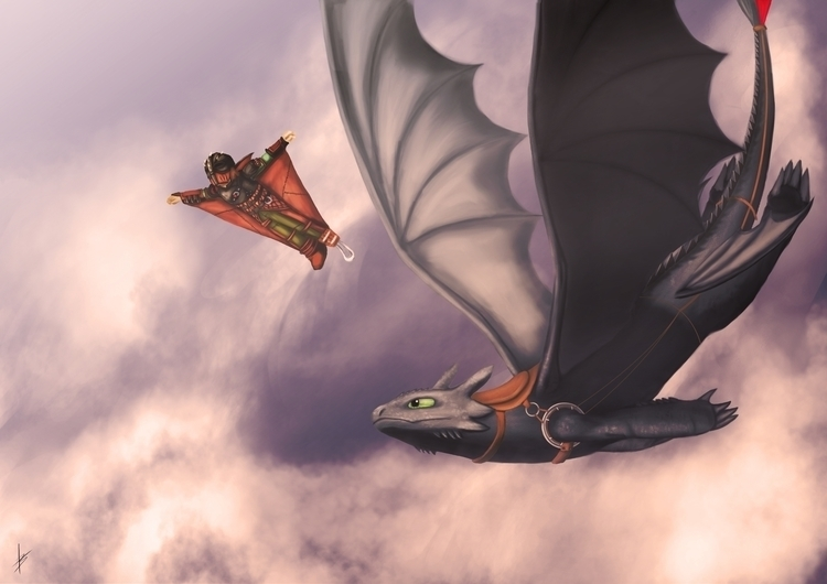 Hiccup Toothless trought sky - illustration - aleban | ello