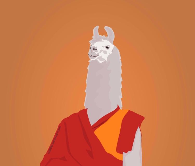 Buddhist lama - drawing, illustration - bartovan-1056   ello