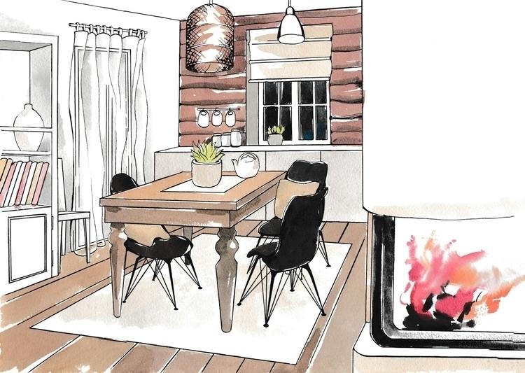 illustration, interior, watercolor - hanna-1284 | ello