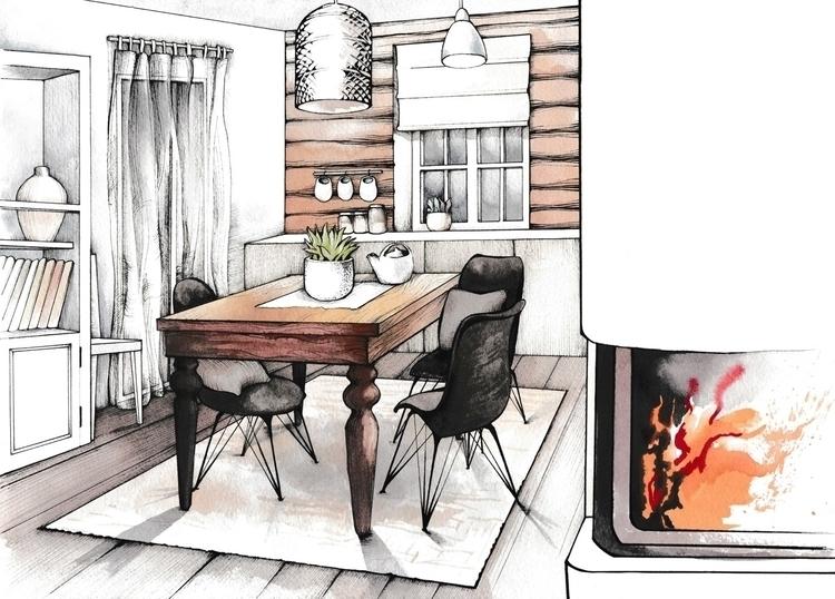 illustration, penink, interior - hanna-1284 | ello