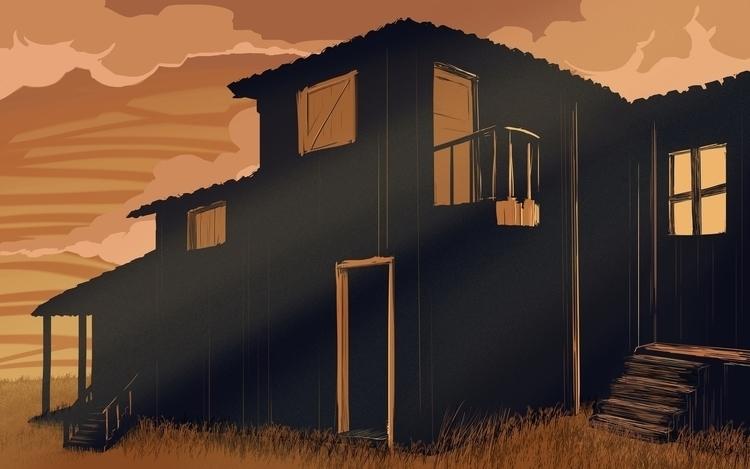 illustration, sunset, house, house - farsa | ello