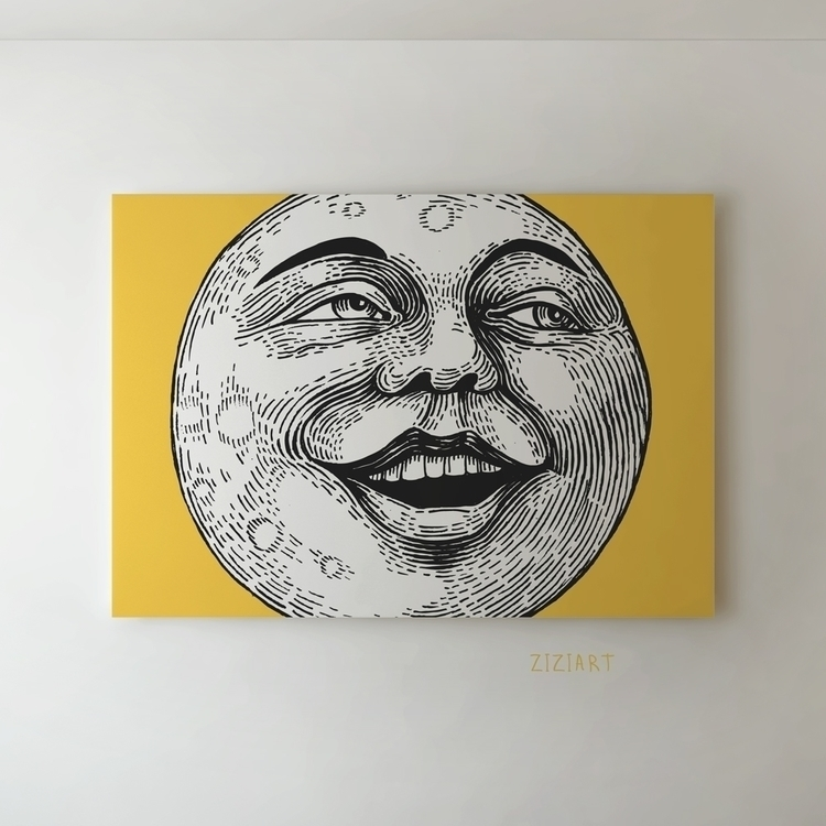 moon face - art, graphic, character - zizilka | ello
