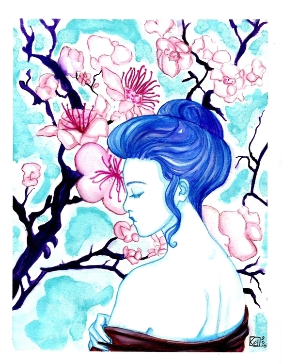 illustration, watercolor, woman - kelhyne | ello