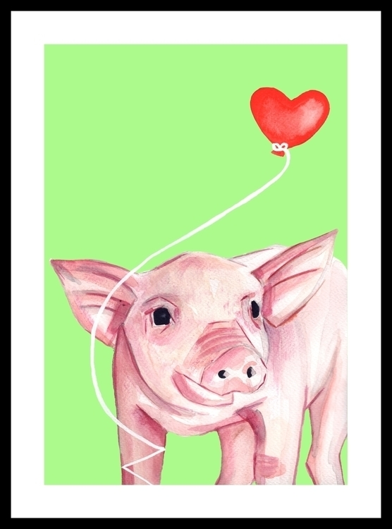 Piglet - illustration, painting - sianjordan | ello