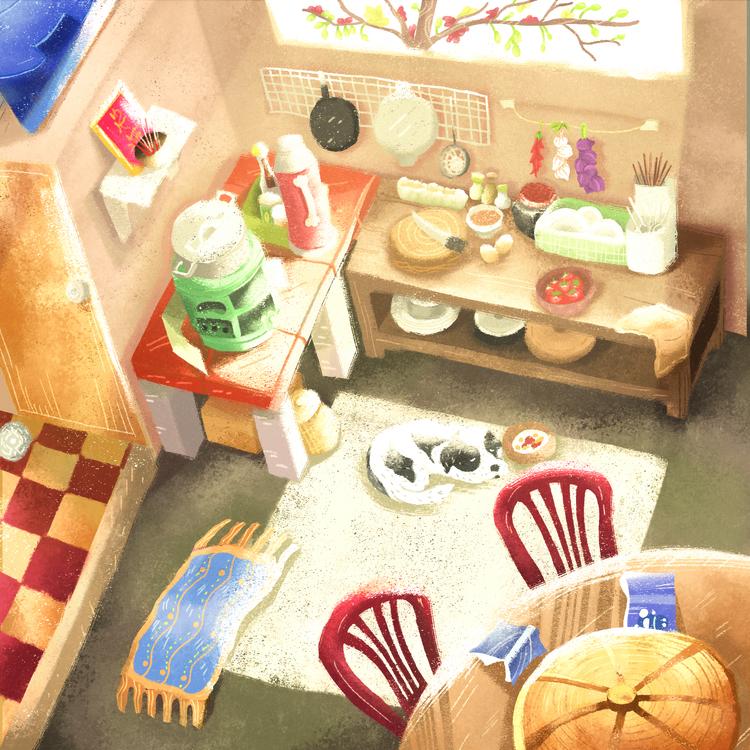 Childhood Kitchen - digitalart, painting - quoctrung102 | ello