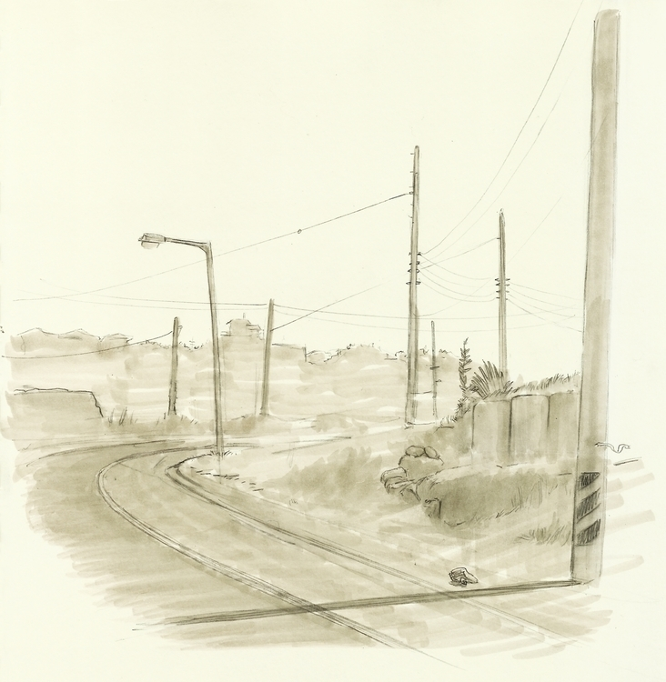 South Korea. Coastal road - drawing - ewan-9578 | ello