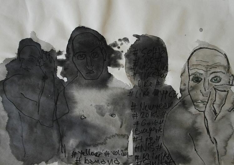 ,,Selfovanje 30.''; ink paper;  - ivanmitic | ello