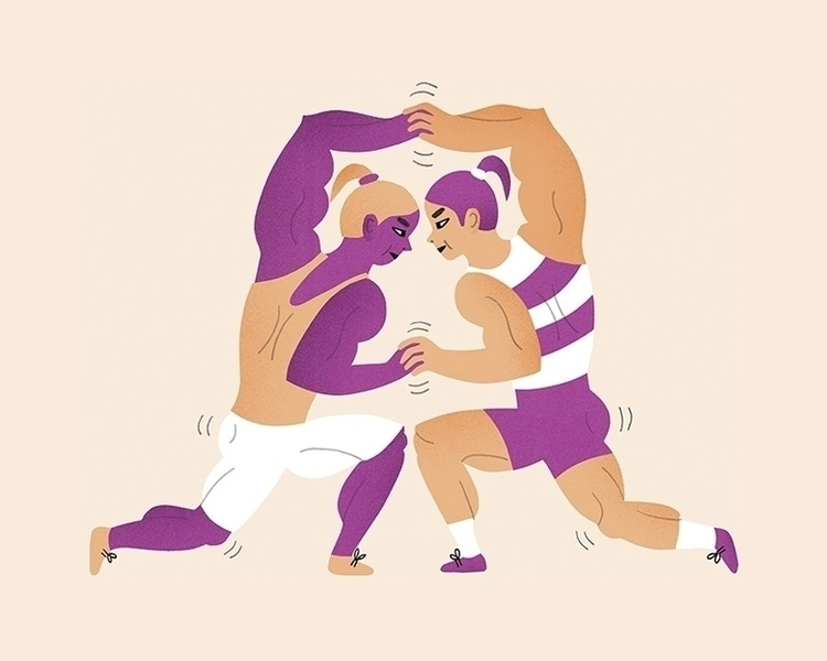 illustration, girlfight, wrestling - karinsoderquist | ello
