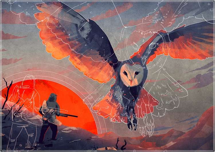 Owl Hunt - illustration, digitalart - micaeladawn | ello