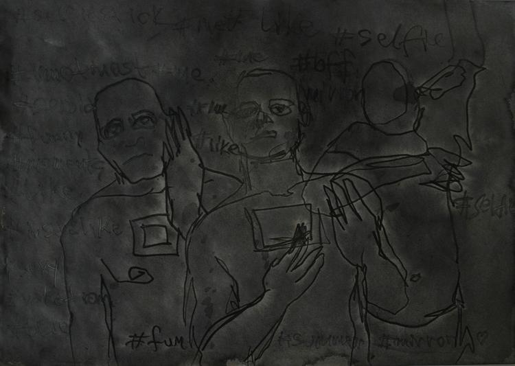 ,,Selfovanje 60.''; ink paper;  - ivanmitic   ello