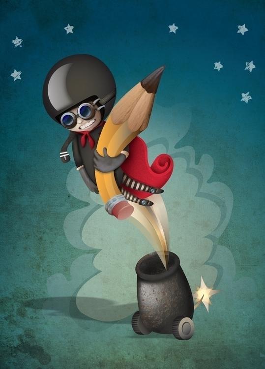 Human Cannonball Illustration - helmetgirl - henryflette | ello