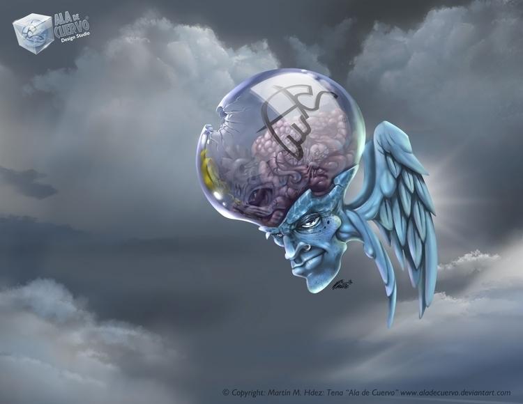 post - flying, brain, wings, cartoon - aladecuervo | ello