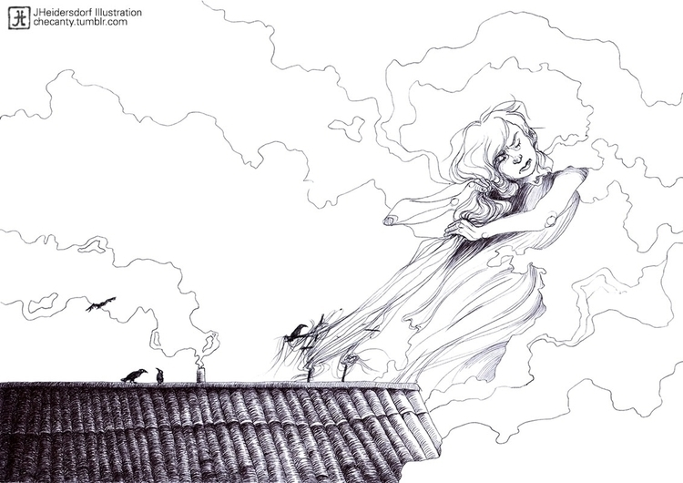 ballpointpen, clouds, roof, girl - checanty   ello