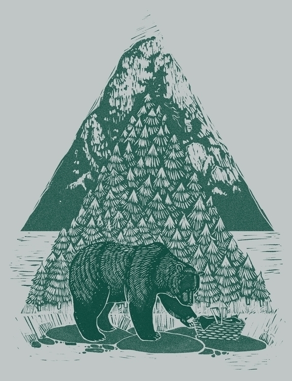 bear, illutration, drawing, lino - louisehubbard | ello