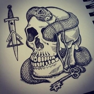 magicians Key - knife, dagger, skull - polkip | ello
