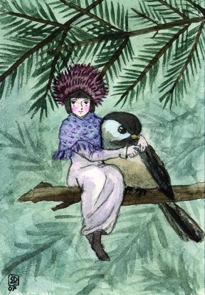 pine-fairy chickadee - fairytales - serenedaoud | ello